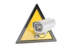 Sinal video da fiscalização da câmera do CCTV, rendição 3D Fotos de Stock Royalty Free