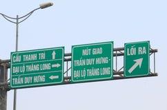 Sinal Vietname da estrada da estrada de Hanoi Fotografia de Stock