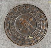 Sinal visto em um passeio em Boston, miliampère do metal da fuga da liberdade imagem de stock royalty free