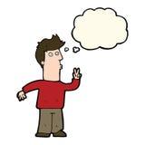 sinalização do homem dos desenhos animados com mão com bolha do pensamento Fotografia de Stock