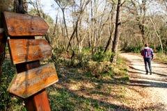 Sinalize pela borda da estrada em madeiras de passeio da floresta e do homem fotografia de stock royalty free