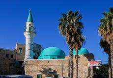 Sinan Basha Mosque (alBahrmoské) i tunnland israel arkivfoto