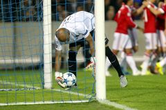 Sinan Bolat Champion League FC Brügge - Manchester United Lizenzfreies Stockbild