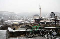 Sinan Pasha mosque and a stone bridge, Prizren Kosovo. Sinan Pasha mosque and a stone bridge pictured as cold weather returned to Prizren bringing with it Royalty Free Stock Image