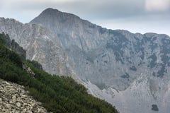 Sinanitsa峰顶, Pirin山峭壁惊人的看法  免版税图库摄影