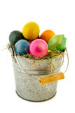 Sinc bucket colorful easter eggs Stock Photo