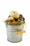 Sinc bucket easter eggs Stock Photos