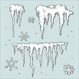 Sincelos e flocos de neve. Tema do inverno. ilustração do vetor
