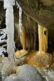 Sincelos em rochas de Teplice na república checa Foto de Stock