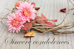 Sincere condolences Royalty Free Stock Image