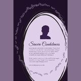 Sincere Condolences vector lettering in abstract style, place for text and photo Royalty Free Stock Photo
