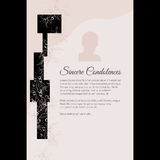Sincere Condolences vector lettering in abstract style, place for text and photo Stock Image
