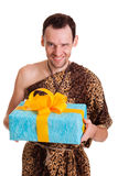Sincere gift from wild funny man stock photos