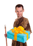 Sincere gift from wild man Stock Images