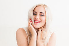 Sincere laugh of the beautiful blonde Royalty Free Stock Image