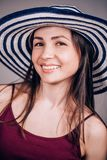 A sincere smile with white teeth of a beautiful woman. Close-up portrait, live emotions royalty free stock photos