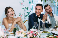 Sincere smiles of the cheerful married couple Stock Photography