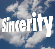 Sincerity 3d Word Honesty Truthful Direct Openness Stock Photos