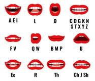 Sincronização da boca e de bordos do personagem de banda desenhada para a pronunciação sadia Quadros ajustados da animação do vet ilustração royalty free