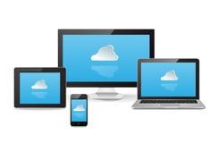 Sincronización de la nube a través de los dispositivos Foto de archivo libre de regalías