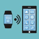 Sincronización entre el reloj elegante y el teléfono elegante SmartWatch ilustración del vector