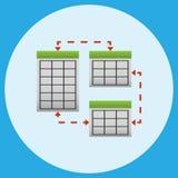 Sincronización y el multiplicarse de los elementos del servidor Ilustración del vector stock de ilustración
