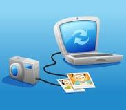 Sincronizzando macchina fotografica con il computer portatile Immagine Stock