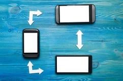 Sincronizzazione dei telefoni cellulari chiamate ricevute ed uscenti fotografia stock