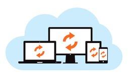 Sincronizzazione del backup della nuvola Immagini Stock