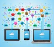 Sincronizzazione sociale di App di media della nuvola Illustrazione di Stock