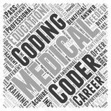 Sind Weiterbildungs-O.K. für medizinischen Kodierungskarrierewortwolkenkonzept-Vektorhintergrund lizenzfreie stockfotografie