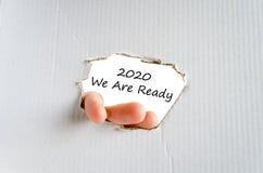 2020 sind wir bereites Textkonzept Stockfotografie