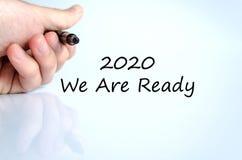 2020 sind wir bereites Textkonzept Stockbild