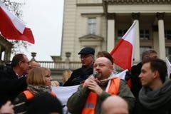 Sindaco della città di Poznan, kowiak del› di Jacek JaÅ, il comitato di protesta la difesa della democrazia (KOD), Poznan, Poloni Fotografie Stock