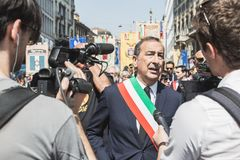 Sindaco Giuseppe Sala partecipa alla parata del giorno di liberazione Fotografie Stock