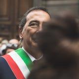 Sindaco Giuseppe Sala partecipa alla parata del giorno di liberazione Fotografia Stock Libera da Diritti