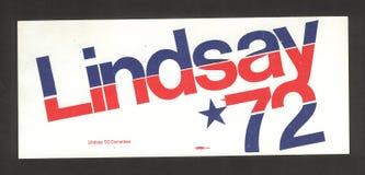 Sindaco John Lindsay Campaign Sticker Fotografia Stock Libera da Diritti