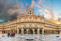 Sindaco storico famoso della plaza a Salamanca, Castiglia y Leon, Spagna fotografia stock