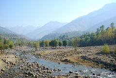 Sindh River, Kashmir, India. Sindh River is floating through the little villages of Kashmir Stock Photo