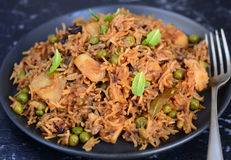 Sindhi Biryani or Sindhi Pulao. A colorful Indian rice dish made from basmati rice, spices, and fresh vegetables also called as Bhugge Chawar or Sindhi Biryani stock photography
