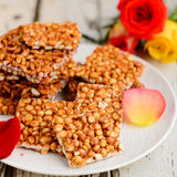 Sindhi roasted chutney dal brittle. Indian brittle made with nuts,roasted lentils or sesame cooked with jaggery or gud or sugar ,eaten during Makar sankranti royalty free stock photography