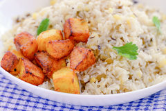 Sindhi summer meal. Indian meal consisting of fried potatoes,Rice stock image