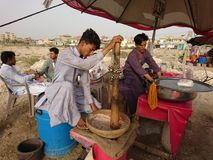 Sindhi Traditional drink making. During hot, dry summers of interior and Upper Sindh people like to have a nap and a drink which is called Thadal. It is made Stock Images