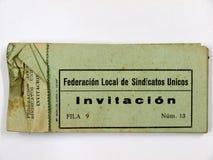 Sindicato de la invitación del boleto de uniones unidas Guerra civil española imagen de archivo libre de regalías