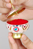 Sindoor box. Symbol of married indian woman Stock Photo