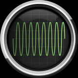 Sine signal on the oscilloscope screen in green tones Stock Photo
