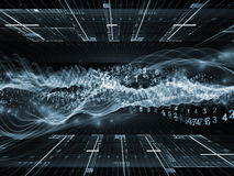 Sine Wave Acceleration. Backdrop of abstract sine waves, numbers and design elements on the subject of modern computing, virtual reality and signal processing Stock Photo