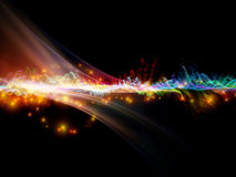 Sine wave of colors. Interplay of fractal waves, lights and abstract design elements on the subject of music, sound, entertainment, data visualization  and Royalty Free Stock Photos
