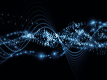 Sine Wave Digits. Abstract composition of abstract sine waves, numbers and design elements suitable as design element in projects related to modern computing Stock Images