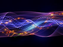 Sine waves of lights. Sine waves background suitable as a backdrop for projects on technology, entertainment, communications, sound and audio royalty free stock image